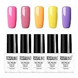 ROSALIND 5 * 7 ml colores serie esmalte de uñas de gel brillante colorido lacado para sellar la necesidad de esmalte de gel Soak Off pintura de gel de larga duración